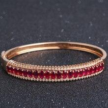 Robira 2017 Trendy 18K Rose Gold Bracelet for Women Bangles Lover Bracelet Jewelry Natural Ruby Bracelet Bangle Pulseiras
