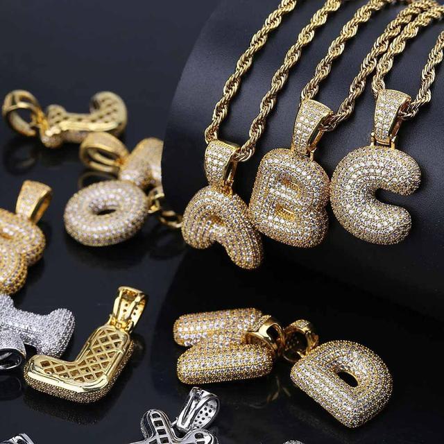 Cubic Zircon Letters Pendant Necklaces