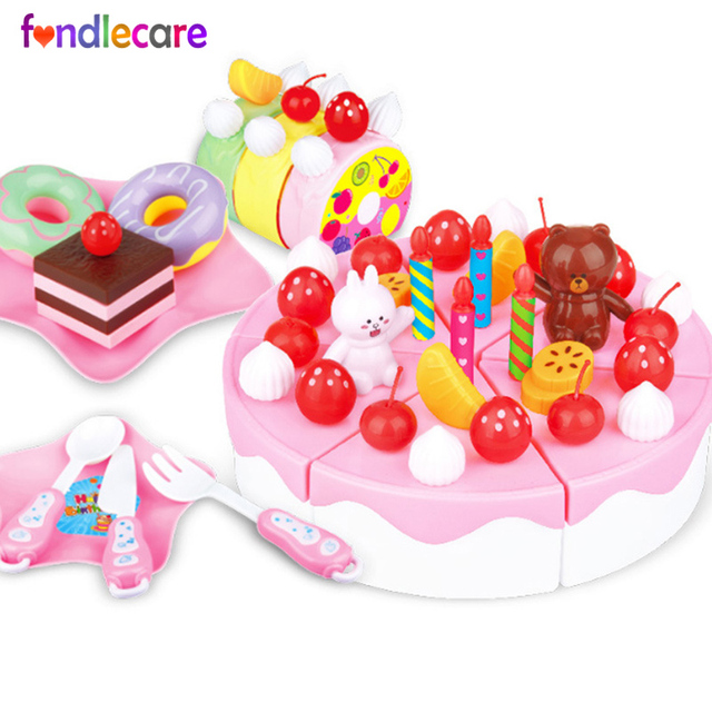Fondlecare 63pcs DIY Kids Play House Toy Kitchen Cookware Set Fruit Birthday Cake Creative Educational Gift For Children