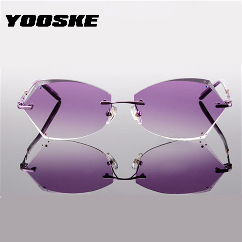 YOOSKE Rimless Sunglass Frame For Women Diamond Cutting Lens Brand Designer Titanium Alloy Glasses Frame Gradient Sun Glasses gold frame colorful lens round sunglass