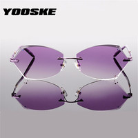 YOOSKE Fashion Women Rimless Eyewear Frame Diamond Cutting Titanium Optical Glasses Frame Gradient Color Lens Sunglasses