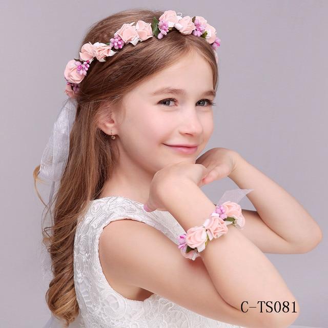 Velos De Novia Wedding Romantic Bohemian Girl Flower Handmade Hairband Bracelet Bride High Bridal Vintage Hair Accessories TS081