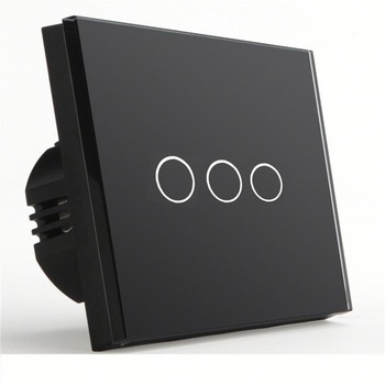 Bseed 240v Touch Switch 3 Gang 2 Way Wall Switch With Glass Panel Black Light Switch Eu Uk Us Au smart home black touch switch crystal glass panel 3 gang 1 way us au light touch screen switch ac110 250v wall touch switches