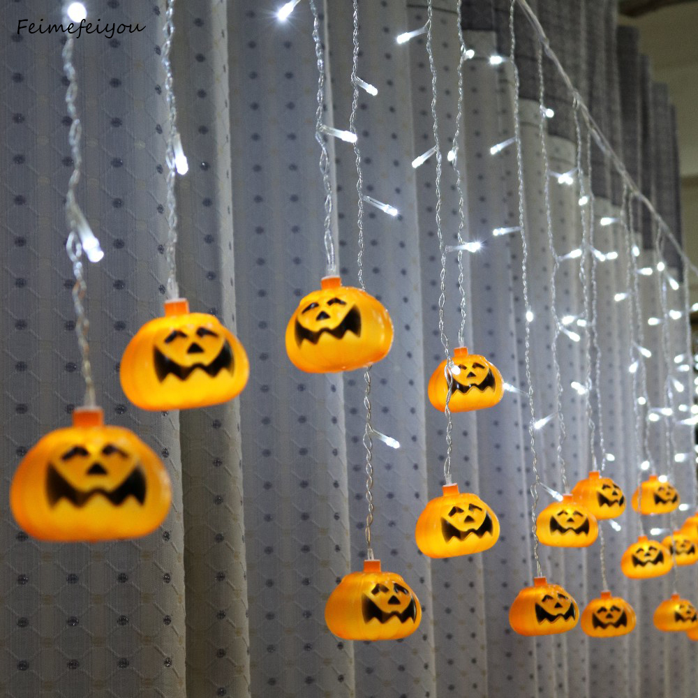 Feimefeiyou 5m 216 leds clampada led pumpkin Fairy Lights LED Curtain String Lights Indoor Party Decor led strip