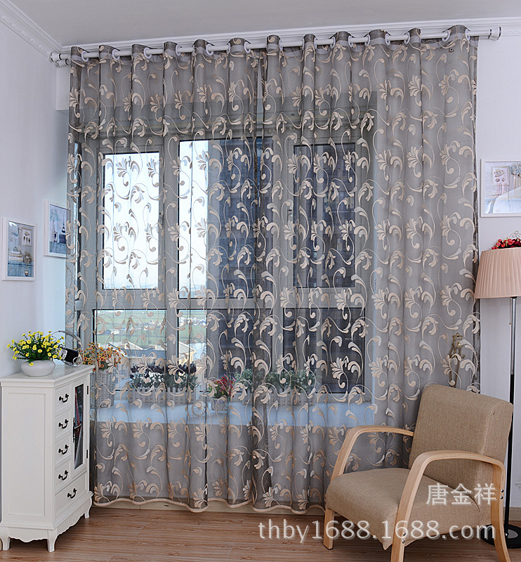 Window Curtains Drapes Diy 1*2.7m Cool See Through Classical Beautiful  Floral White Gray Fabric Yarn Rustic Free Shipping-in Curtains from Home &  Garden on ...
