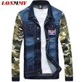 LONMMY М-4XL Джинсовая куртка мужчины пальто Военная jaqueta для мужчин случайные куртка пальто мужская одежда Тонкий жан Камуфляж рукава Ковбой 2016