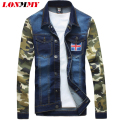 LONMMY M-4XL Denim jacket men coats Military jaqueta men casual jacket coat men clothes Slim jean Camouflage sleeves Cowboy 2016