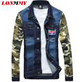LONMMY M-4XL jaqueta Jeans casacos homens jaqueta Militar homens jaqueta casaco homens roupas casuais Magro jean mangas Camuflagem Cowboy 2016