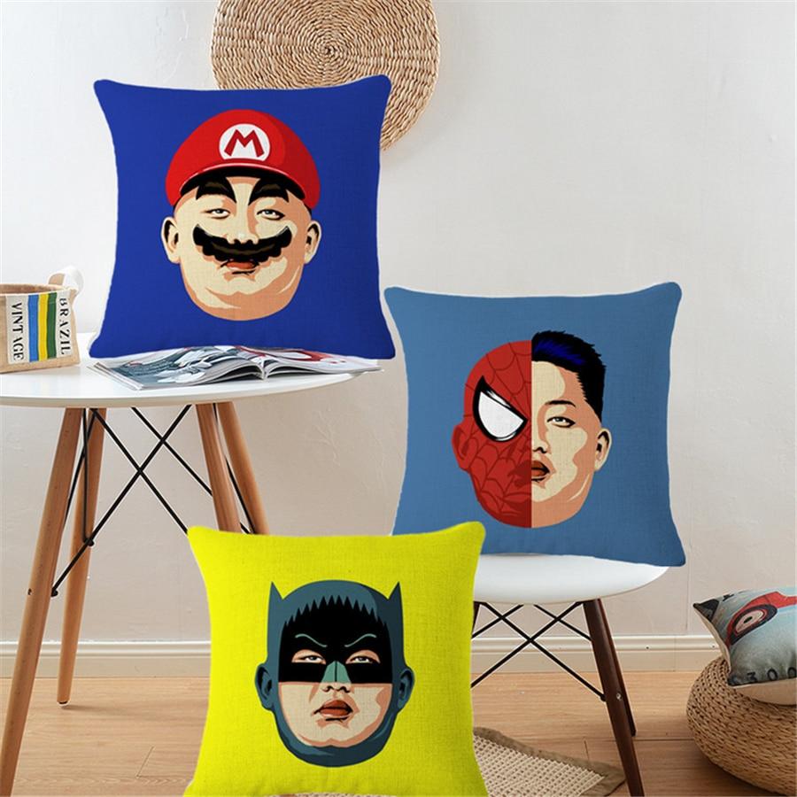 Nordic Cotton Linen Cartoon Batman Pikachu Decorative Cushion Covers - Home Textile