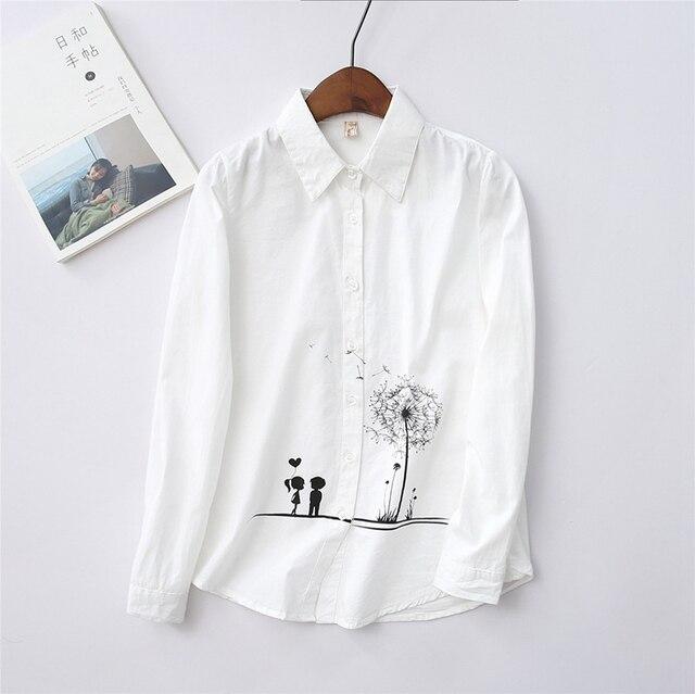 Женская Одуванчик Печатных Белый Хлопок Рубашка Женщины Блузки Blusas Mujer