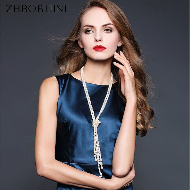 ZHBORUINI High Quality Long Pearl Necklace Natural Freshwater Pearl Sweater Chain 925 Sterling Silver Pearl Jewelry For Women high quality 2017 long bezel cz station high quality 925 sterling silver 85cm 102cm silver chain statement necklace
