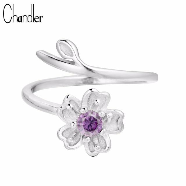 Chandler 925 Sterling Silver Daisy Flower Branch Wrap Rings Adjustable Purple CZ