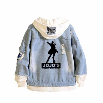 JoJo's Bizarre Adventure Boys denim jacket Unisex Jeans Jacket Stardust Crusaders Long Sweatshirt Harajuku Streetwear Hoodies