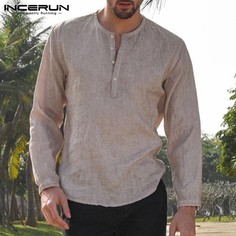 5XL Mens Linen Cotton Shirts Long Sleeve Button Crew Neck Solid Loose 2020 Autumn Dress Shirts Fashion Classic Male Clothes