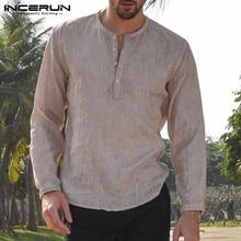5XL Mens Linen Cotton Shirts Long Sleeve Button Crew Neck Solid Loose 2019 Autumn Dress Shirts Fashion Classic Male Clothes