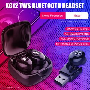 Image 2 - XG12 TWS Mini Bluetooth 5.0 Earphone Stereo Bass Earbuds Portable Wireless Earphones With charging box for Huawei iPhone Samsung