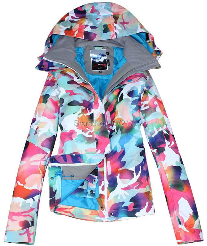 2015 gsou snow womens camouflage ski jacket colorful snowboard jackets ladies waterproof windproof warm anorak skiwear snow wear