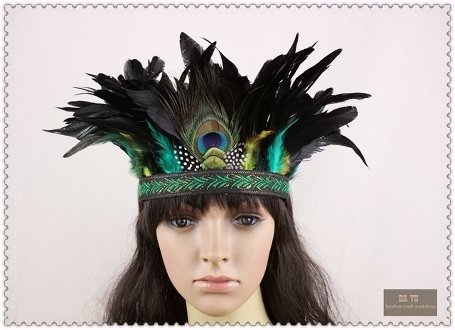 7 Inch Indian Feather Headdress Hand Made Native American Costumes Headband