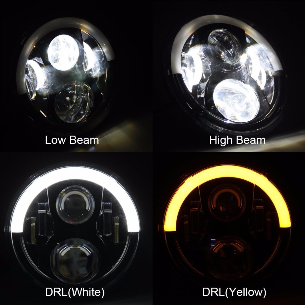 7 Round LED Headlight For Wrangler JK Headlamp With Halo Angel Eye & Turn Signal Lights & DRL ( White DRL / Amber Turn Signal ) 7 60w round car led headlight with halo angel eye