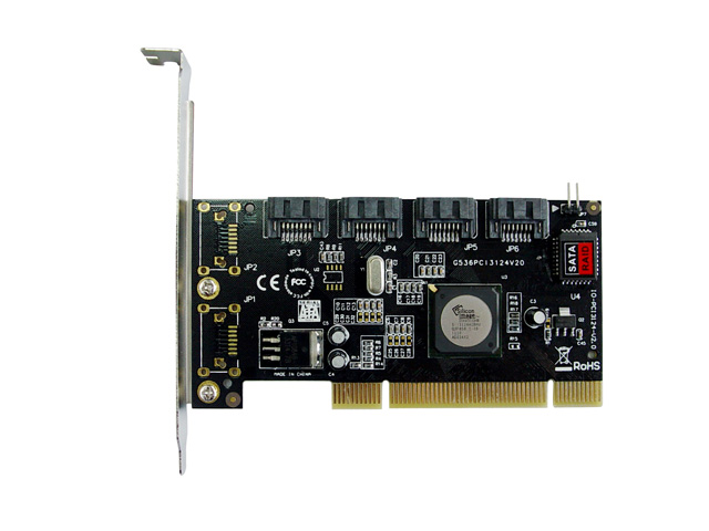 PCI 32bits to 4 ports SATA serial ATA raid controller card converter adapter chipset SIL3124 Support Low Profile Bracket