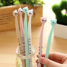 1pcs/lot New Sweet Crooked Neck Cat With Tail Lid Gel Pen Four Choice 0.5mm Black Ink  Pens For Writting