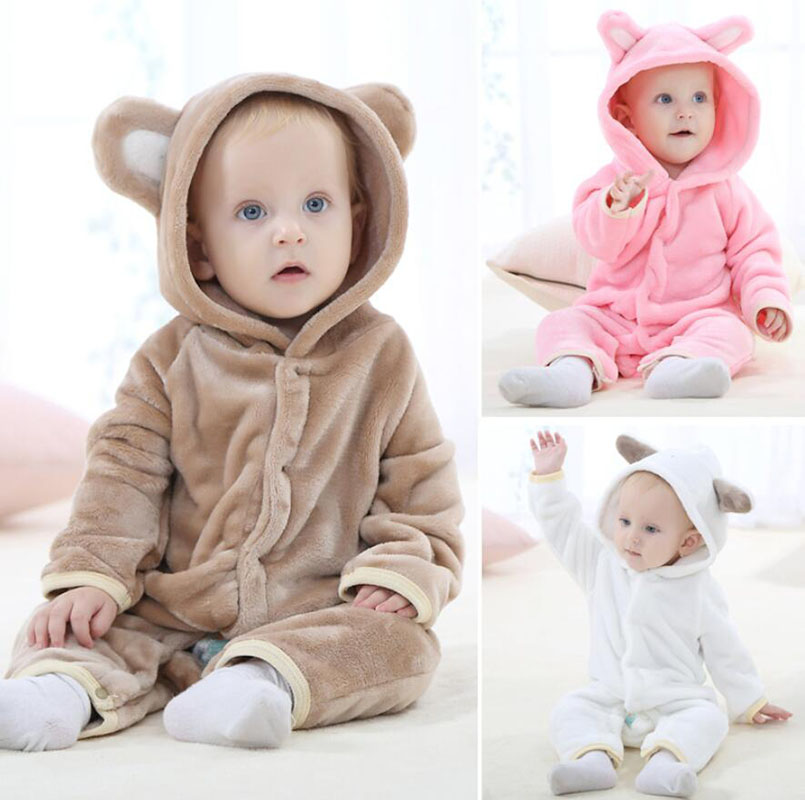 0-18months Soft Warm Unisex Newborn Baby Winter Clothes Animal Rabbit Bear Costume Baby Boys Girls Rompers Jumpsuit One-Pieces