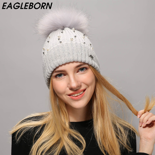 f22709543dd  EB  Women Winter Hat Raccoon Fur Pom Poms Girl  S Hats Wool Knitted Beanies  Pearl Cap Solid Colors Gorros Cap Female Causal Hat