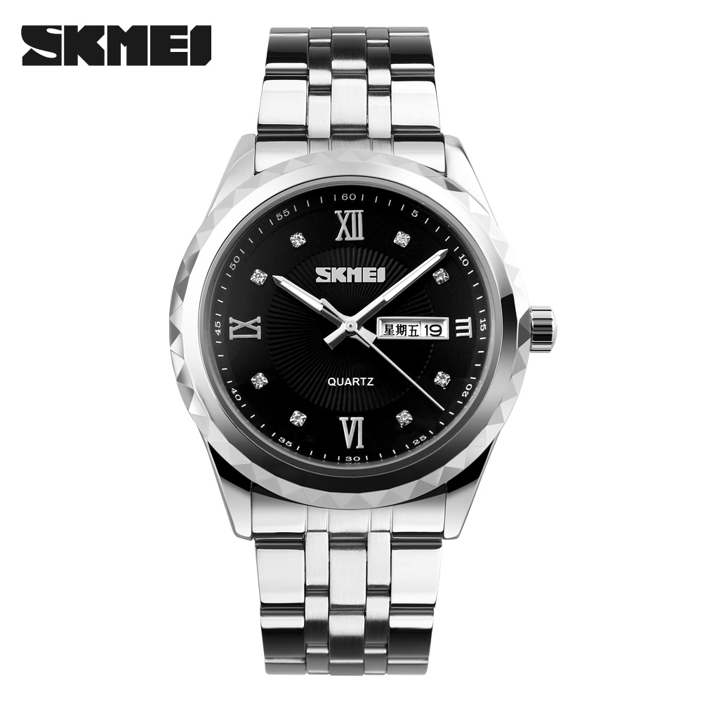 SKMEI Men Business Quartz Watches Waterproof Complete Calendar Wristwatches Stainless Steel Strap Watch Relogio Masculino no name веселый паровозик с ремнем