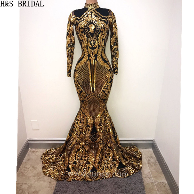 Us 14999 25 Offhs Bridal Long Sleeve Gold Sequins Evening Dress High Neck Lace Applique Evening Gown Muslim Mermaid Prom Dresses Abendkleider In