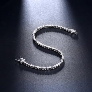 Image 2 - Élégant pur argent Sterling 7 pouces Tennis Bracelets bijoux réglage 2mm rond cristal luxe éternel 925 zircone bijoux