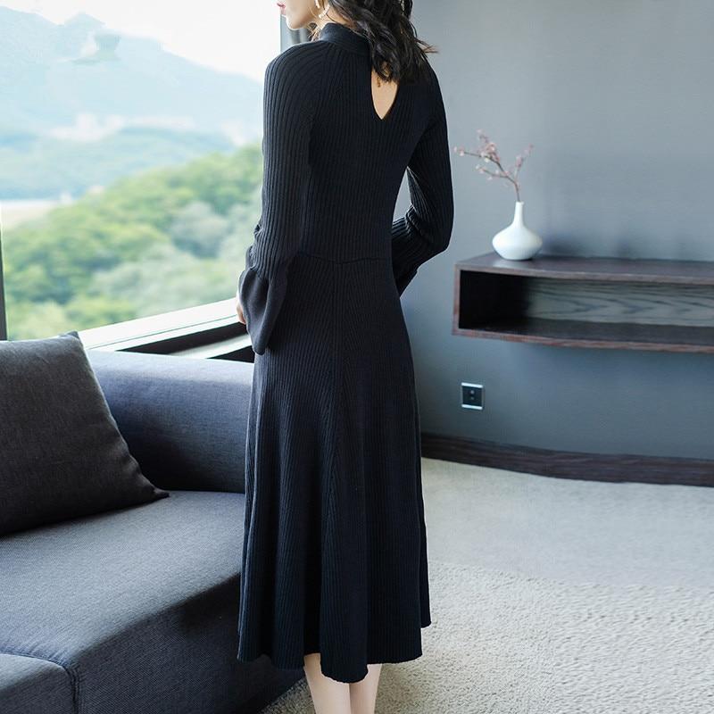 Abiti Il Delle Vestito Feminino Autunno Elegante A Lavorato Yq314 Maglia Femminile Vestidos Inverno Lungo Signore 2019 Del Nero Pullover Maglione Donne PRqFx