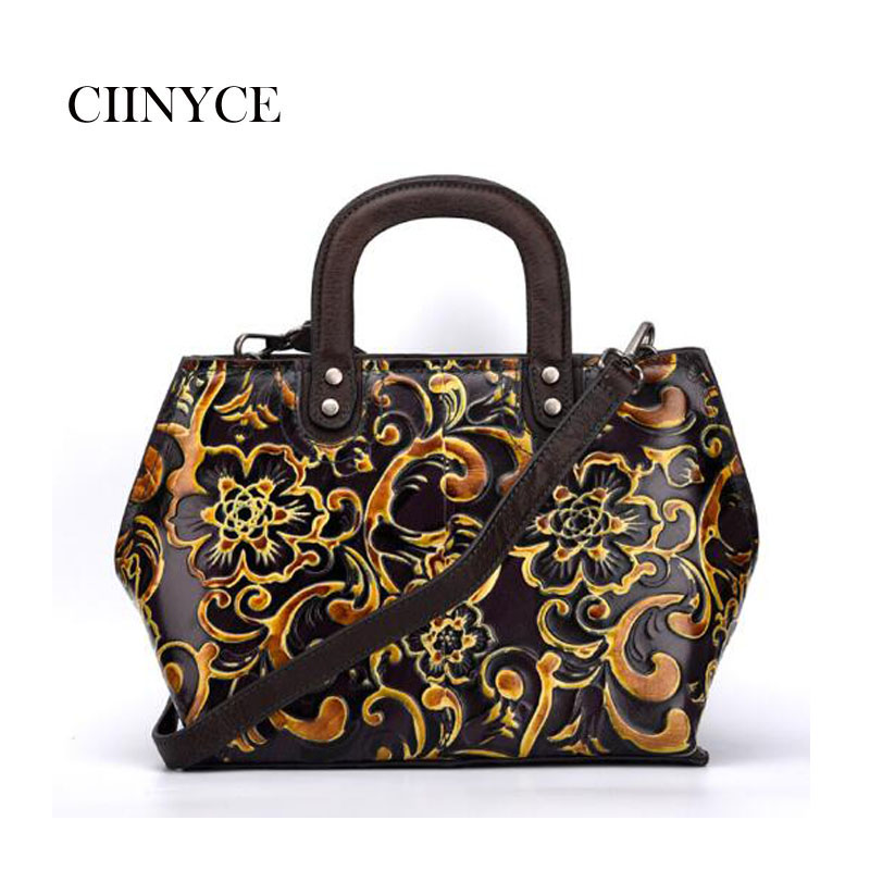 цены Original Designer Brand Genuine Cow Leather Women's Vintage Cowhide Handbags Floral Satchel Totes Crossbody messenger bags