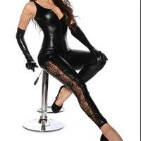 M XXL Passion Women Sexy Lingerie Latex PVC Dress Jumpsuit Zentai Costumes Lady Black Catsuit Pole