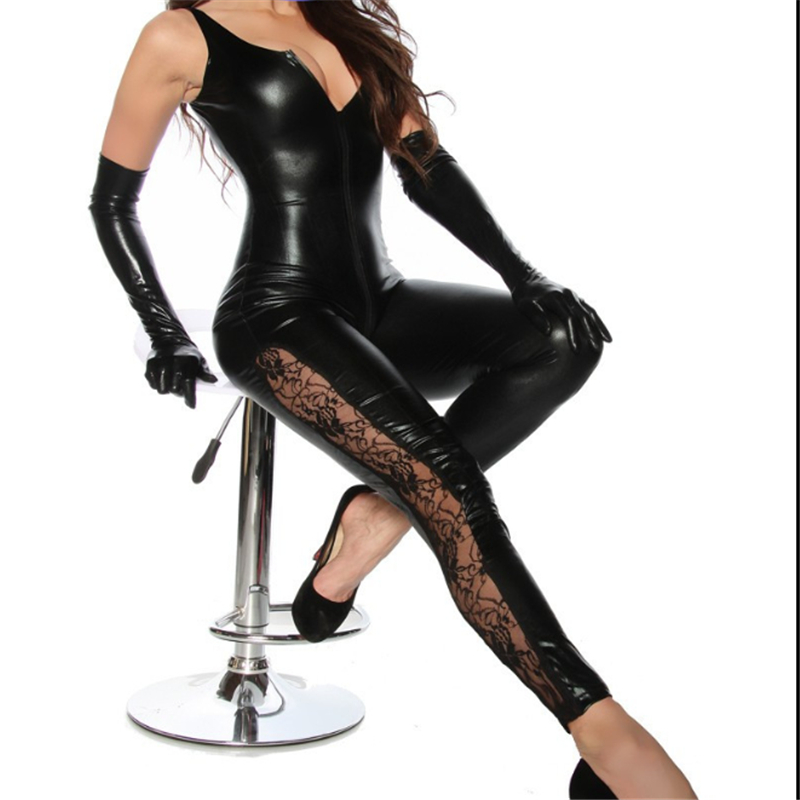 2018 Sexy Lingerie Lady Leather Costume Pvc Jumpsuit Sexy Latex Catsuit Sexy Game Bodysuit Clubwear Lace Jumpsuit Crotch Zipper