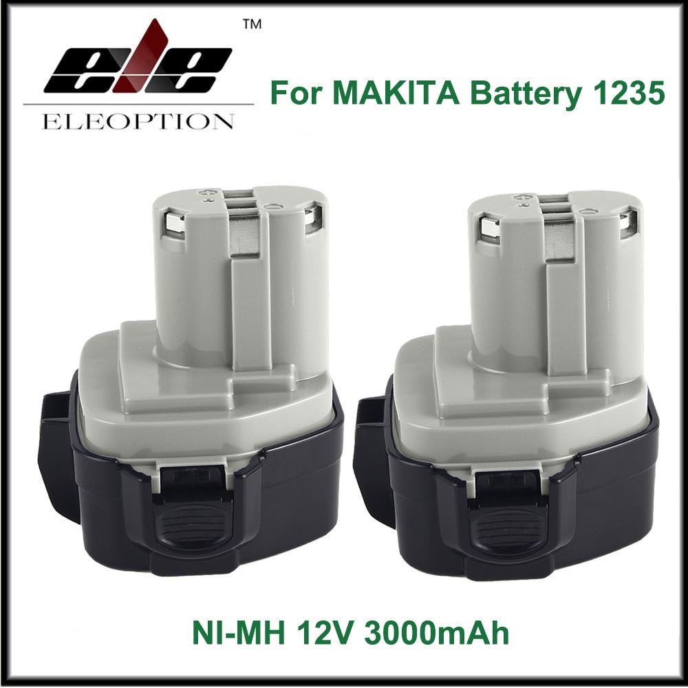 2 pcs ELEOPTION 12V 3000mAh Ni-MH Battery for MAKITA 1235 1233 192698-A 1050D 4013D 6227D 8413D eleoption high quality 12v 3000mah ni mh battery for makita 1234 1235 1235f 193138 9 192698 a