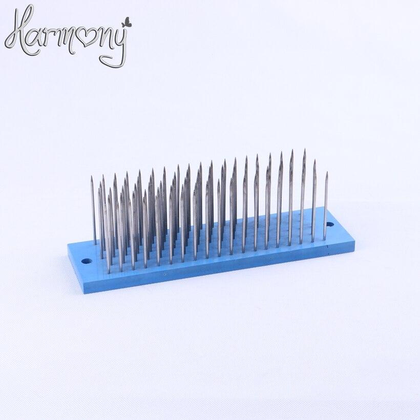 Hackle de cheveux de couleur bleue de 2 pièces/paire 27 cm * 8 cm * 9 cm avec l'aiguille de 93 pièces pour la trame de machine de peigne, petit peigne en acier