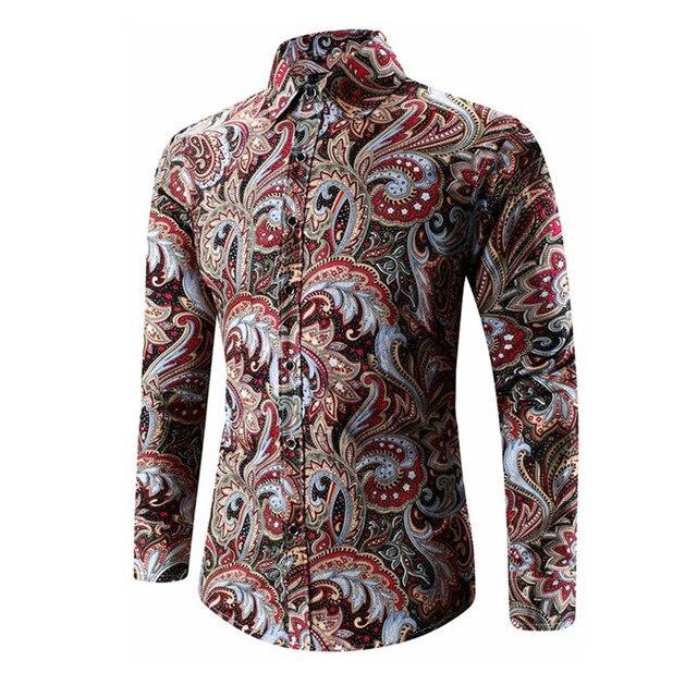 bf595f99 2017 Spring Autumn Medusa Shirt Men's Floral Print Shirt Plus Size Long  Sleeve Men Vintage Shirts 5XL High Quality Chemise Homme