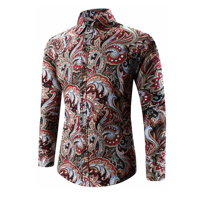 3c27ac9c62cc Spring Autumn Medusa Shirt Men's Floral Print Shirt Plus Size Long Sleeve Men  Vintage Shirts 5XL
