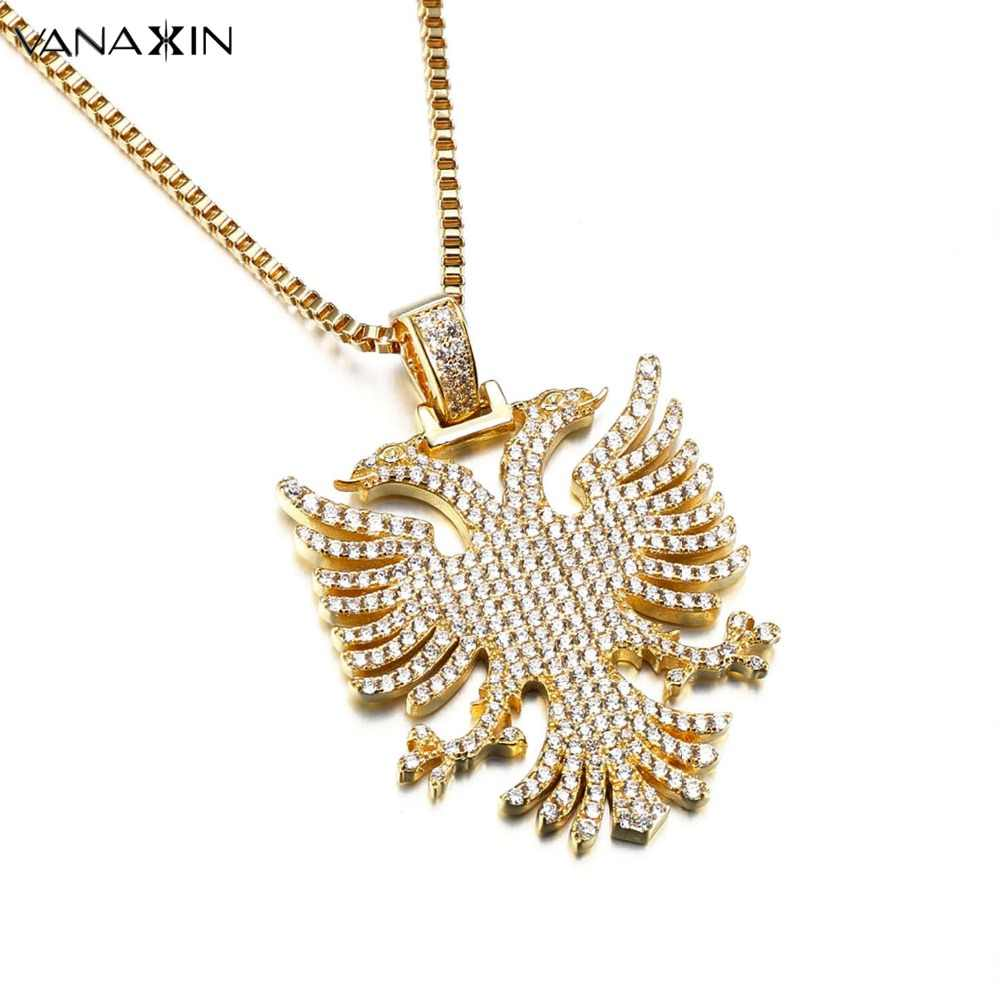 VANAXIN Pendant Necklace Albania Eagle Double-headed Eagle CZ Paved Statement Necklaces Gold Hiphop Fashion Jewelry Men Women