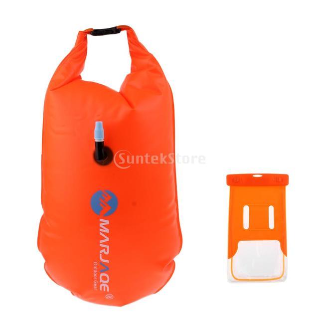 fcb8c2a87056 € 16.05 20% de DESCUENTO|Altamente Visible nadar boya snorkel natación  remolque flotar Drybag y Caja impermeable del teléfono para el agua los ...