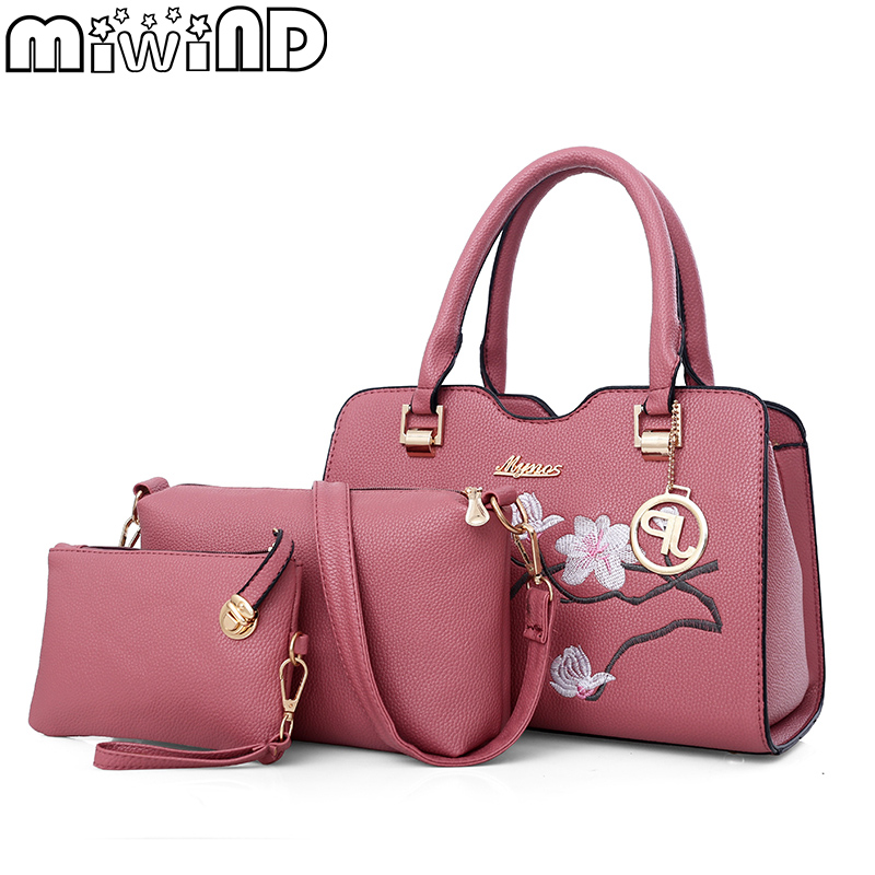 MIWIND New Women Handbags Female Shoulder Bags Chinese Style Wintersweet Embroidery Luxurious Women Composite Bag 3-Piece Suit miwind 100