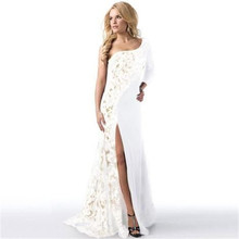 Summer Female Lace Maxi font b Dress b font One shoulder font b Evening b font