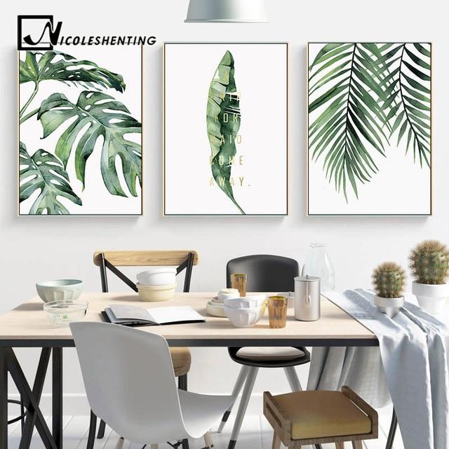 צבעי מים עלים קיר אמנות בד ציור ירוק סגנון צמח נורדי והדפסי דקורטיבי תמונה מודרני עיצוב הבית