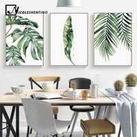 Aquarel Bladeren Muur Art Canvas Schilderij Groen Stijl Plant Nordic Posters en Prints Decoratieve Foto Modern Home Decoratie
