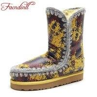 FACNDINLL Brand Design Boots Australia Classic Snow Boots Women S Kid Suede Print Leather Ankel Boots