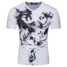 2017 Men Short Sleeve V Neck Chines Painting Horse Designer Casual T Shirt Fashion White Black Slim Cotton T Shirt S-XXL D067