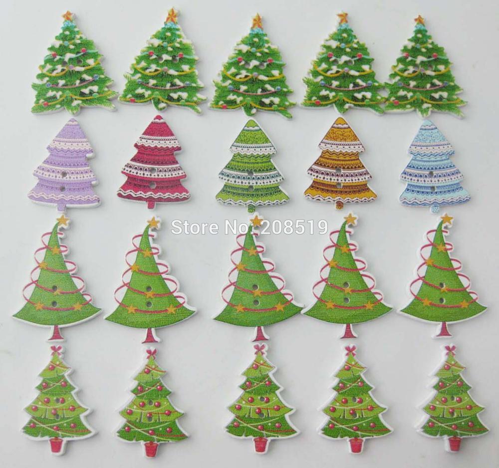 WBNGNW 4 типа chirstmas кнопок дерево 200 шт. DIY Записки рукоделия вечерние украшения Рождество кнопку