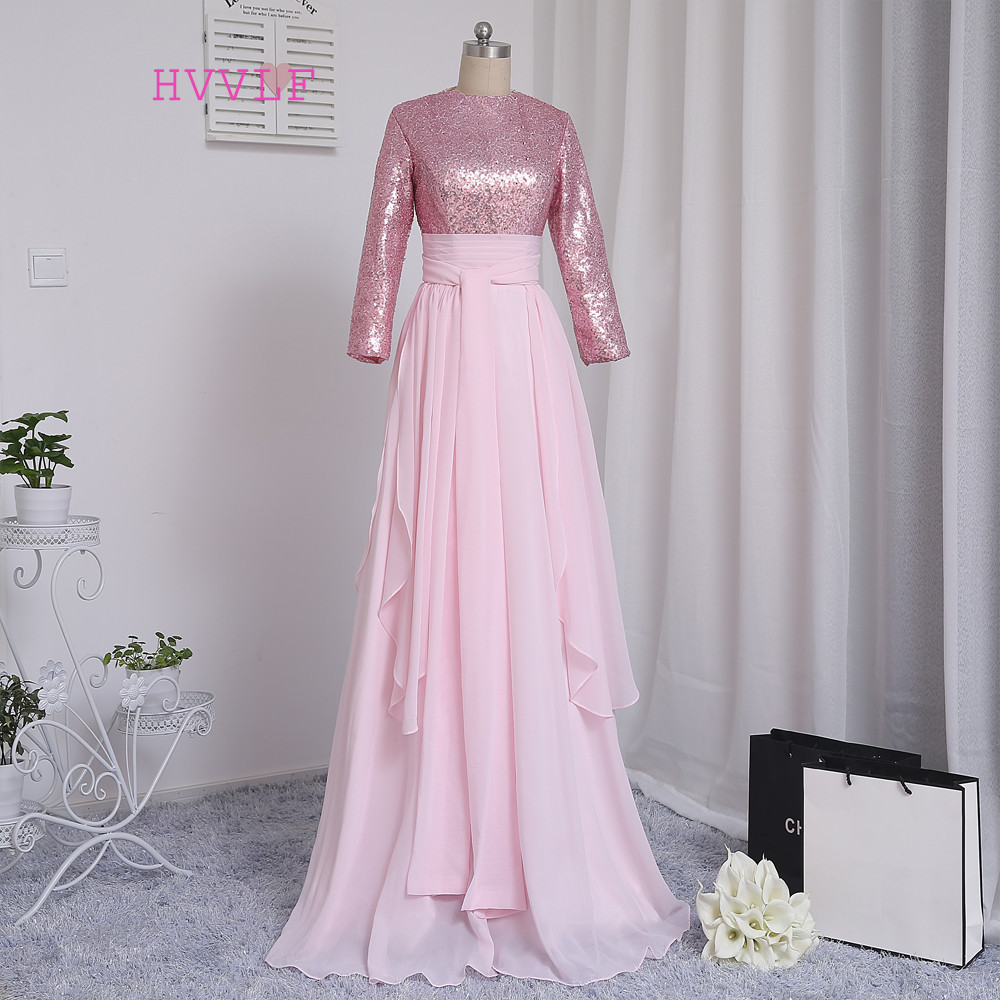 Hvvlf musulmán rosado Vestidos de noche 2018 una línea de mangas largas  gasa Lentejuelas elegante Arabia árabe largo vestido de noche vestido de  fiesta b34b5211054d