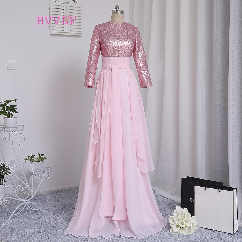 っHvvlf musulmán rosado Vestidos de noche 2018 una línea de mangas ...