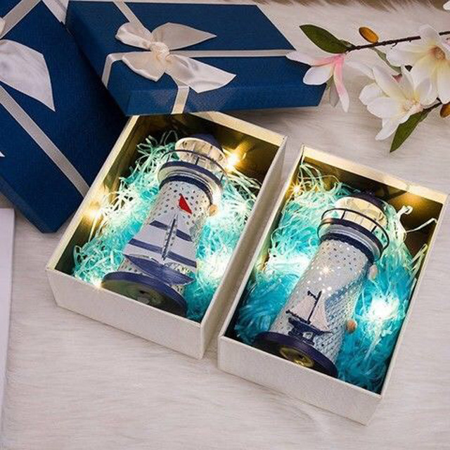 LED Iron Tower Candle Holder Mediterranean-style Lighthouse Wrought Holiday Candlestick Home with light Wedding Party Decor 3
